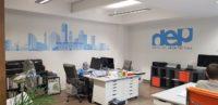 Office walls with printed vinyl branding